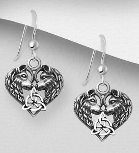 Handcast 925 Sterling Silver Celtic Wolf Heart Trinity Dangle Earrings