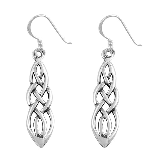 Large Silver Celtic Knotwork Dangle Earrings