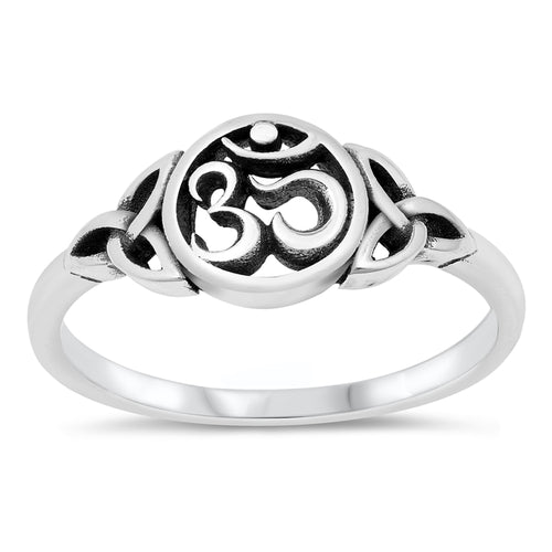 925 Sterling Silver Celtic Trinity Triquetra Knot OM Ring Band Size 5-10