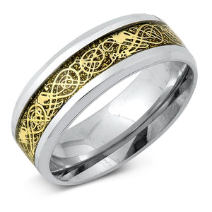 316L Surgical Stainless Steel Two-Tone Celtic Dragon Weave Ring Band Ring