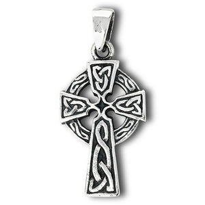 Silver Irish Celtic Cross Pendant + Free Chain