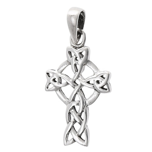 Silver Irish Celtic Filigree Trinity Knot Cross Pendant + Free Chain