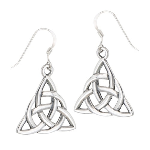 Silver Celtic Triquetra Trinity Knot Dangle Earrings