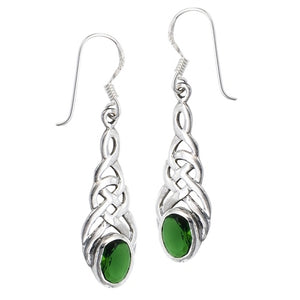 Silver Celtic Dangle Earrings w/ Emerald Green CZ