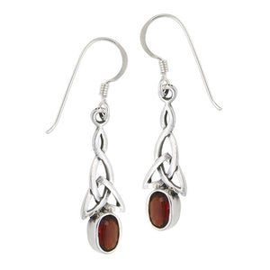 Silver Celtic Dangle Earrings w/ Garnet CZ