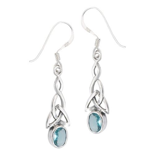 Silver Celtic Dangle Earrings Blue Topaz CZ