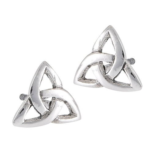 Silver Celtic Triquetra / Trinity Knot Stud Post Earrings
