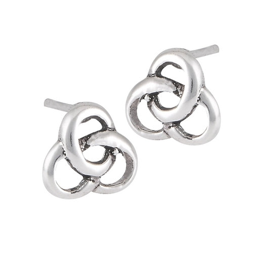 Silver Celtic Triquetra Trinity Knot Stud Post Earrings