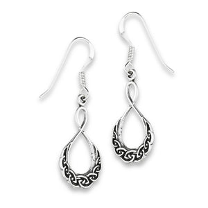 Silver Celtic Weave Dangle Earrings