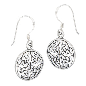 Large Silver Celtic Trinity Triquetra Knot Dangle Earrings