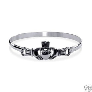 Silver Irish Celtic Claddagh Bangle Bracelet