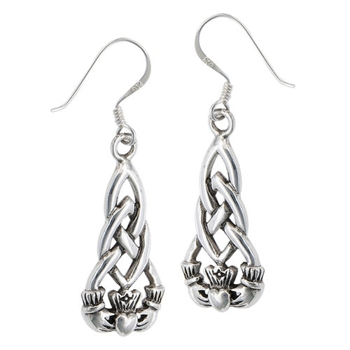 Sterling Silver Irish Claddagh Dangle Earrings