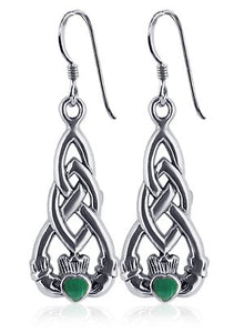 Sterling Silver Irish Claddagh Dangle Earrings w/ Emerald Green CZ