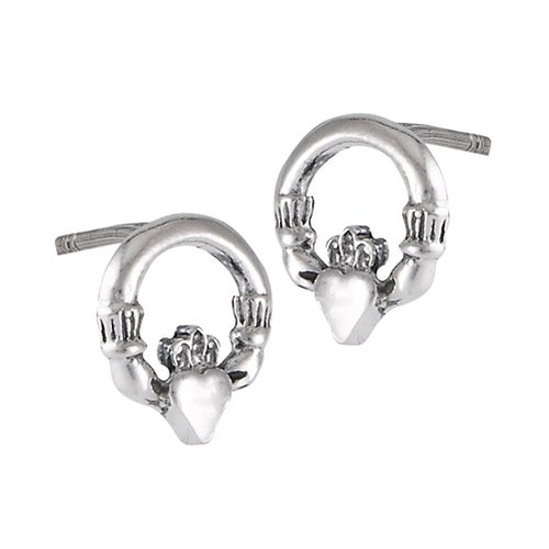 Sterling Silver Irish Celtic Claddagh Stud Post Earrings