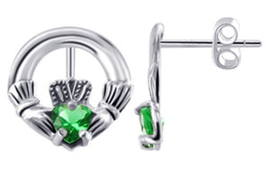 Sterling Silver Irish Claddagh Stud Post Earrings Emerald Green