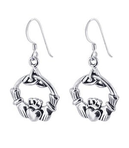 Sterling Silver Irish Claddagh Dangle Earrings w/ Trinity Knot