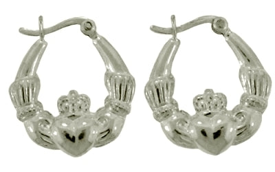 Sterling Silver Irish Celtic Claddagh Hoop Earrings