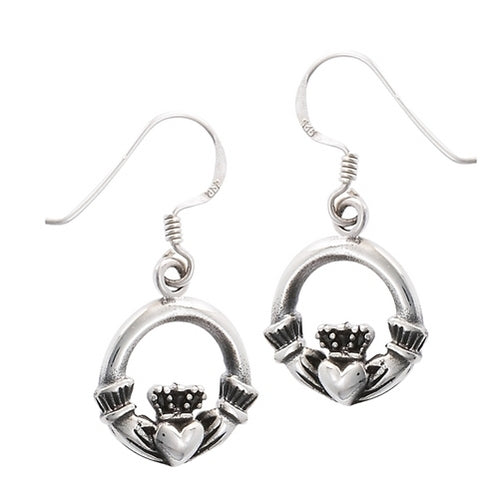 Sterling Silver Irish Celtic Claddagh Dangle Earrings