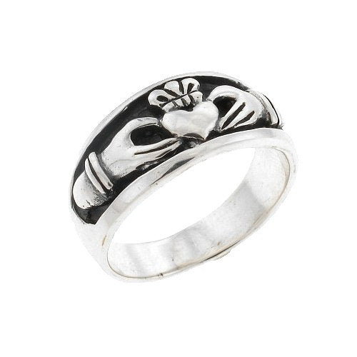 Sterling Silver Inset Claddagh Men's Ring