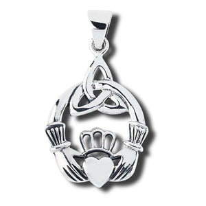 Sterling Silver Irish Celtic Claddagh Pendant w/ Trinity Knot + Free Chain