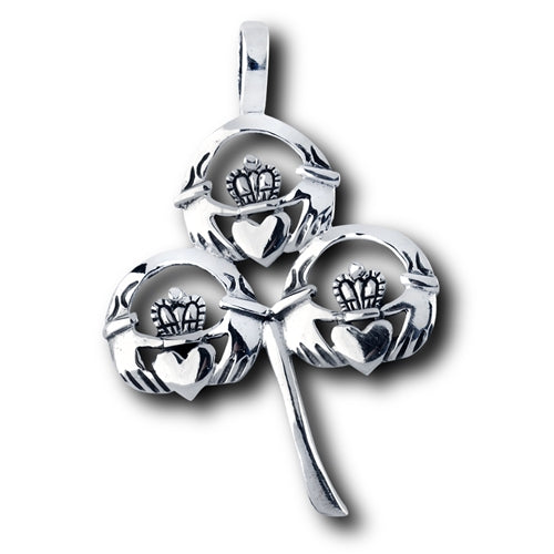 Sterling Silver Irish Claddagh Shamrock Pendant + Free Chain