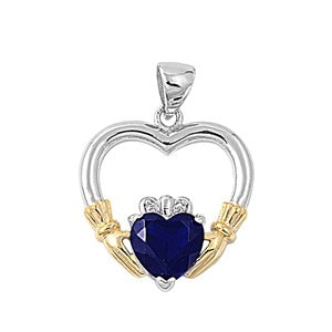 Sterling Silver Irish Claddagh Pendant w/ Sapphire Blue CZ + Free Chain