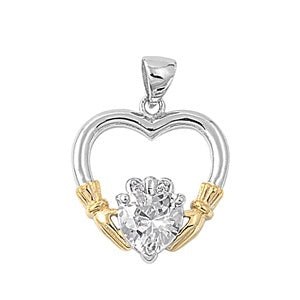 Sterling Silver Irish Claddagh Pendant w/ Clear CZ Heart + Free Chain