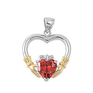 Sterling Silver Irish Claddagh Pendant w/ Garnet CZ Heart + Free Chain