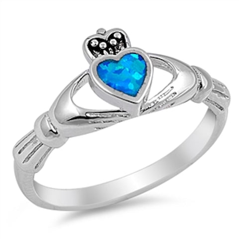 Sterling Silver Irish Claddagh Ring w/ Blue Opal