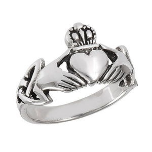 Sterling Silver Irish Claddagh Ring w/ Trinity Knot