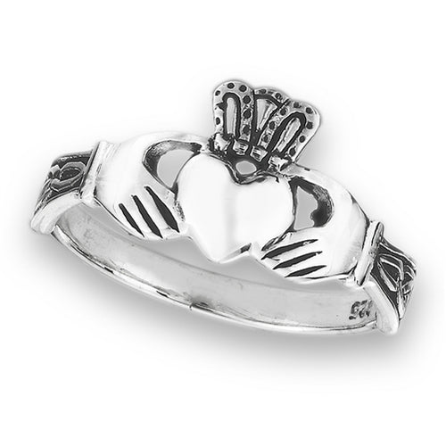 Sterling Silver Irish Claddagh Ring w/ Triquetra Knots