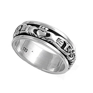Sterling Silver Women Irish Claddagh Spin Ring