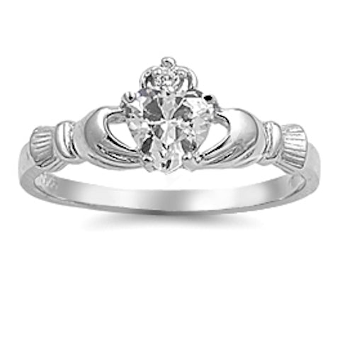 Sterling Silver Irish Claddagh Ring w/ Clear CZ