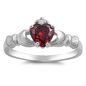 Sterling Silver Irish Claddagh Ring w/ Garnet CZ