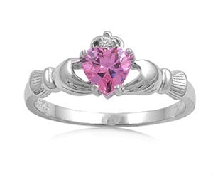 Sterling Silver Irish Claddagh Ring w/ Pink CZ