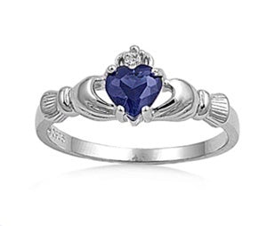 Sterling Silver Irish Claddagh Ring w/ Blue Sapphire CZ