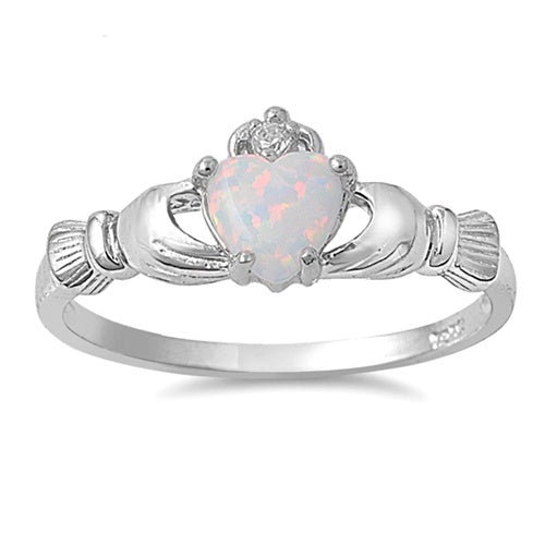 Sterling Silver Irish Claddagh Ring w/ White Opal