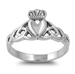 Sterling Silver Irish Celtic Claddagh Ring w/ Trinity Knot