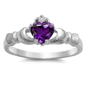 Sterling Silver Irish Claddagh Ring w/ Amethyst CZ