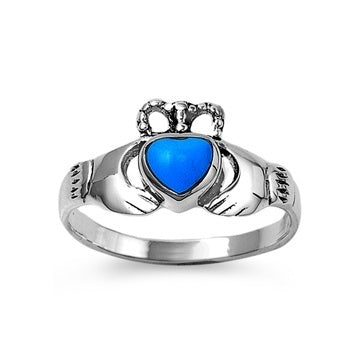 Sterling Silver Irish Claddagh Ring w/ Turquoise