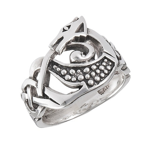 Silver Celtic Dragon Head Warrior Ring