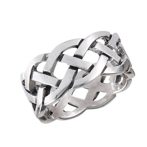 Large Silver Celtic Braided Eternity Weave Ring