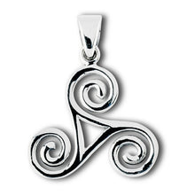 Silver Celtic Triskele Triple Spiral Pendant + Free Chain
