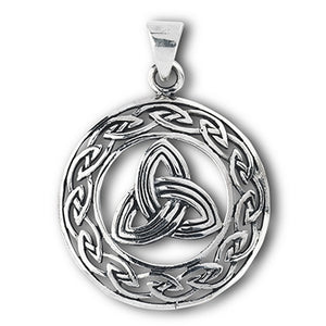 Large Silver Celtic Triquetra / Trinity Knot Pendant + Free Chain