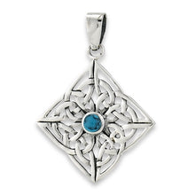 Silver Celtic Knotwork Pendant w/ Turquoise Pendant + Free Chain