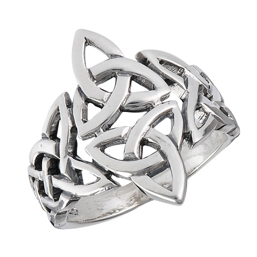 Silver Celtic Double Triquetra / Trinity Knot Ring