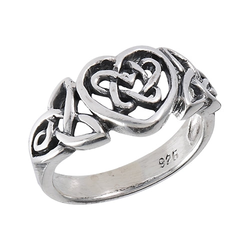 Silver Celtic Loveknot Heart Ring