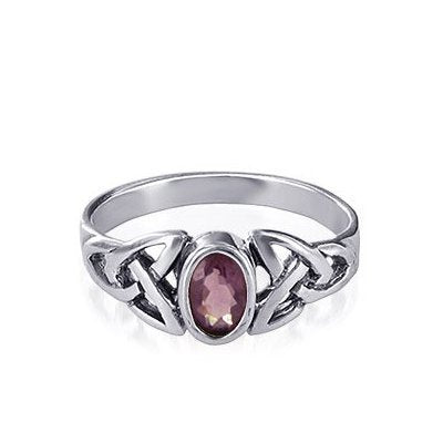 Silver Celtic Triquetra / Trinity Knot Ring Amethyst CZ