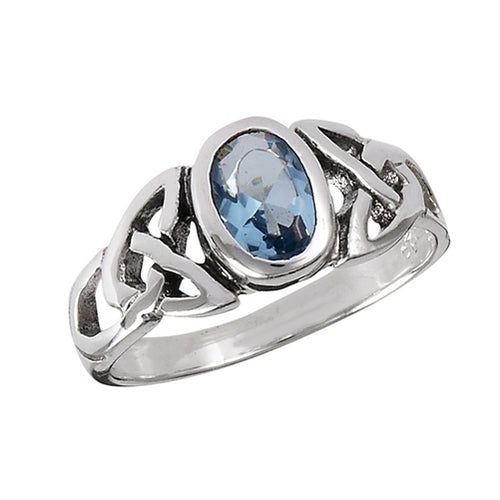 Silver Celtic Triquetra / Trinity Knot Ring Blue Topaz CZ