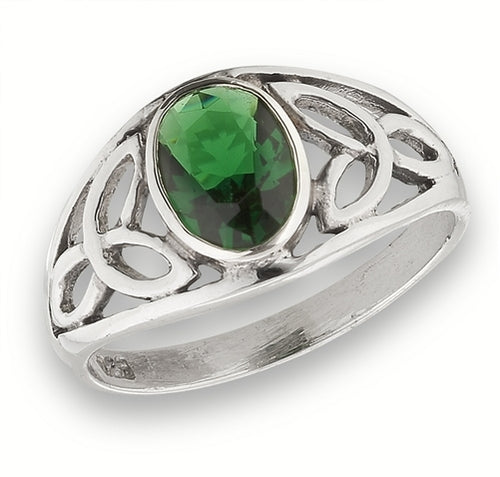 Silver Celtic Triquetra / Trinity Knot Ring Green CZ